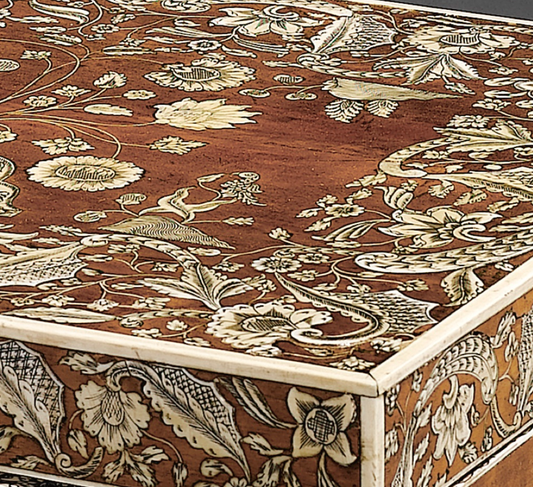 [Detail) An ivory inlay sandalwood  boudoir chest, India, 18th century.