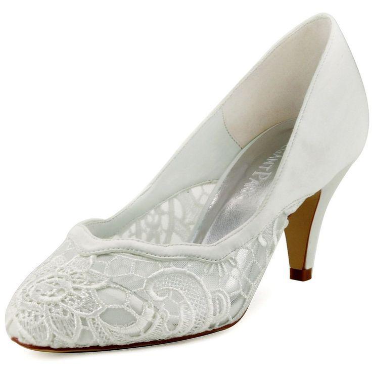 Elegantpark HC1501 Ivory Women s Almond Toe Rippled Edge Cone Heel Lace  Satin Wedding Bridal Shoes UK9 9b39eb2e2178