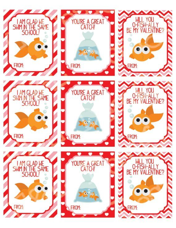 graphic about Goldfish Valentine Printable called Goldfish Delight in Valentines Working day Playing cards, Valentines Working day Playing cards