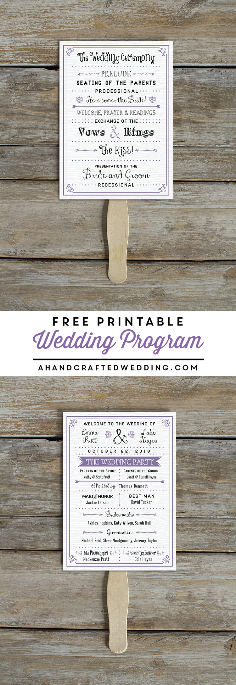 FREE Printable Wedding Program ahandcraftedweddingcom DIY