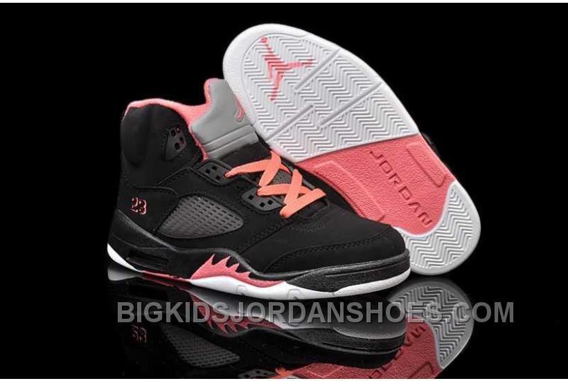 big sale 4bc3e dc444 Nike Air Jordan 5 Kids Black Alarming Red Shoes New in 2019 ...