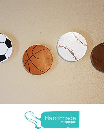 Sports Ball Themed Wall Art | Boys Bed Room Décor | Kids Room | Hand Painted | Baseball, Basketball, Soccer, Football | For Sports Room & Game Room 8 inch from Risen Son Creations https://www.amazon.com/dp/B06XZBW3N8/ref=hnd_sw_r_pi_dp_eHOczbZ3AR829 #handmadeatamazon