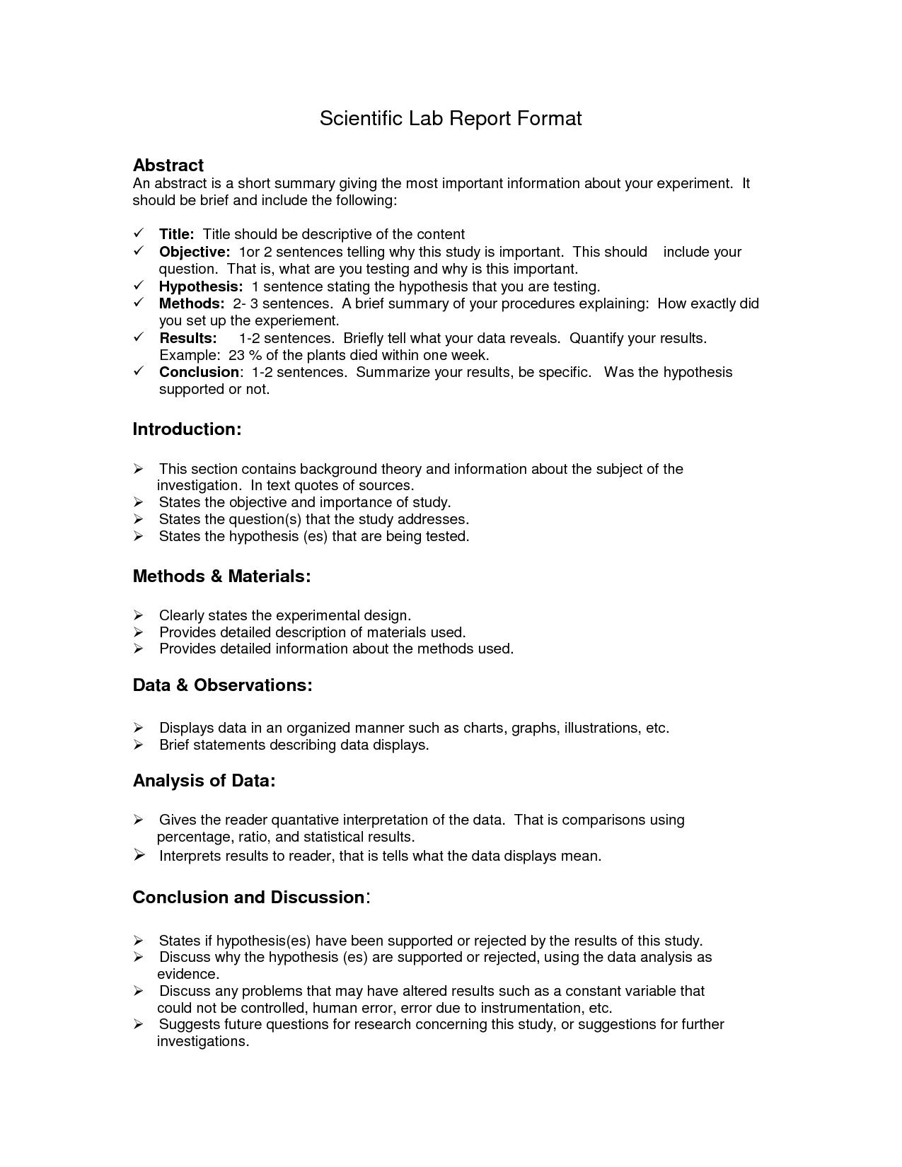 Lab Report Format Doc