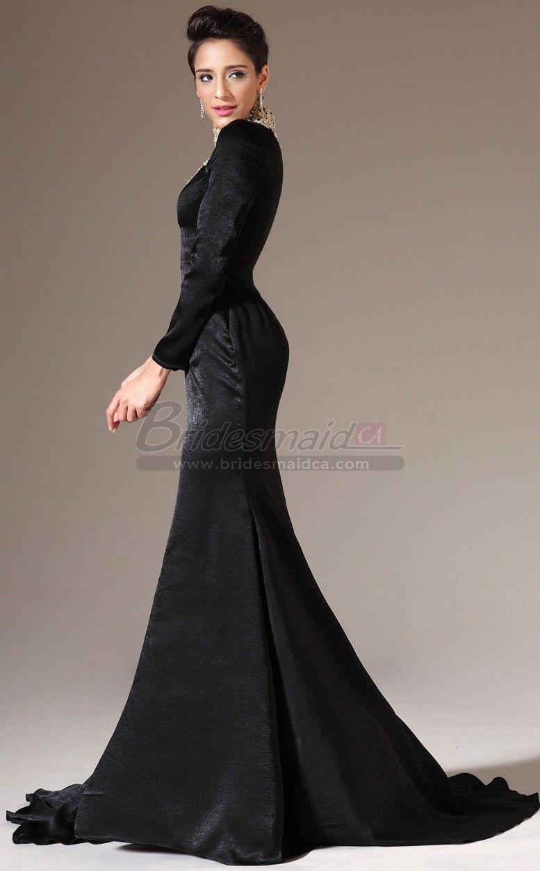 Jewel neck chiffon and lace black long mermaid bridesmaid dress with