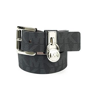 Michael Kors® Hamilton Lock Monogram Belt - Black