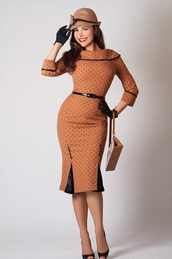 New 1940s 1950s 1960s Bettie Page Clothing Iced Coffee Pencil Dress ... a568aa0514a