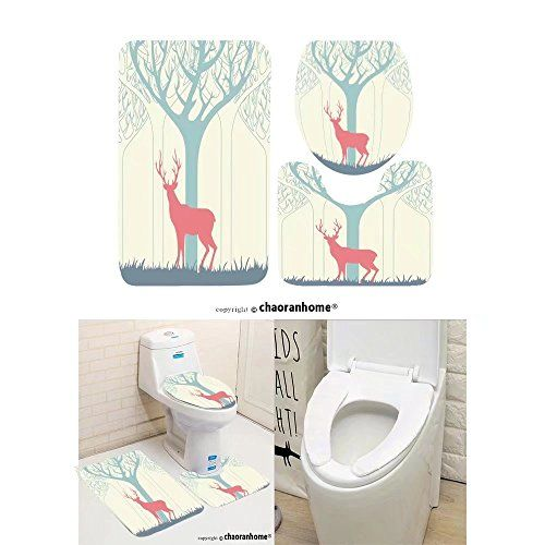 Bath Mat Set 3 Piece Bathroom Mats Deer