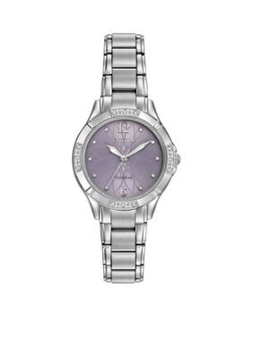 Citizen Silver Ladies Silver-Tone Stainless Steel Citizen Eco-Drive Diamond Watch