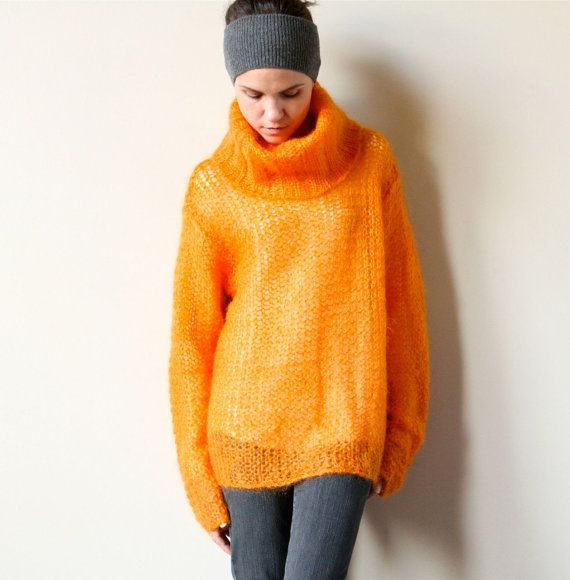 Chunky Mohair Sweater, New Wave bright orange turtleneck openwork ...