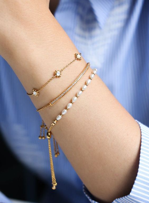 The Everyday Stack 14K Gold-filled or Sterling Silver beaded ready-made bracelet stack