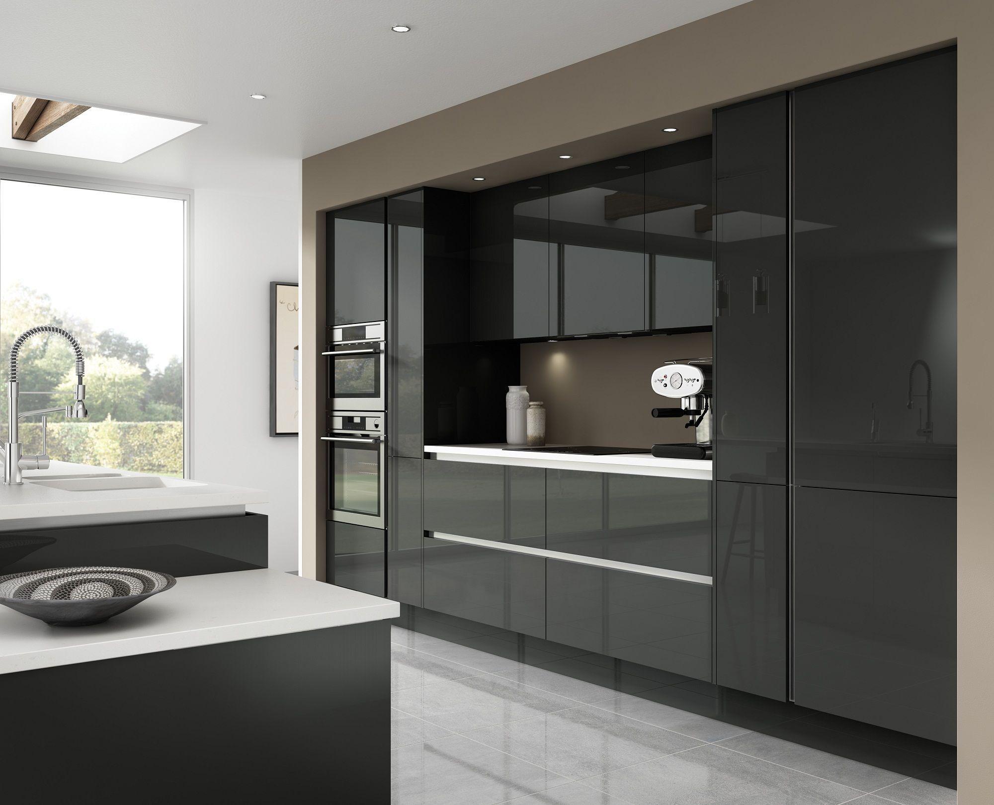 Luna Gloss Dark Grey Really Shows Off A Stylish Modern Kitchen