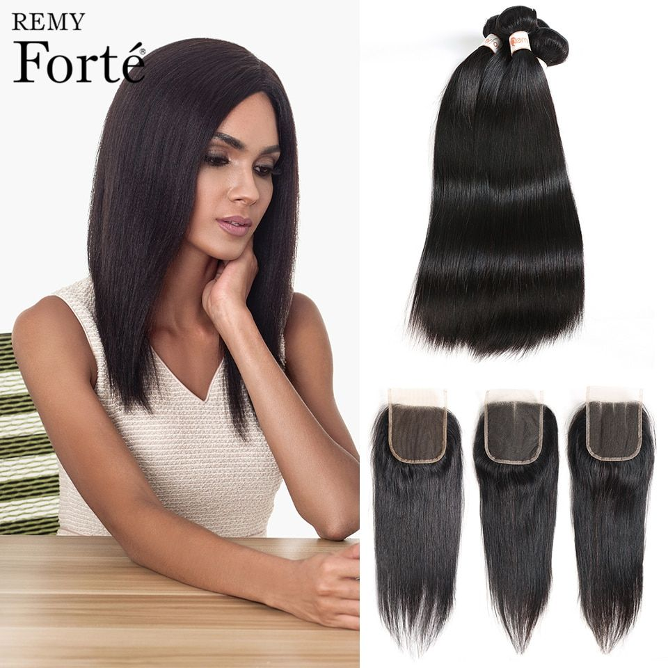 Remy Forte 30 Inch Hair Bundles With Closure Remy Brazilian Mink Straight Human Hair Weave 2 3 4 Bu Straight Hair Bundles Weave Hairstyles Brazilian Hair Weave