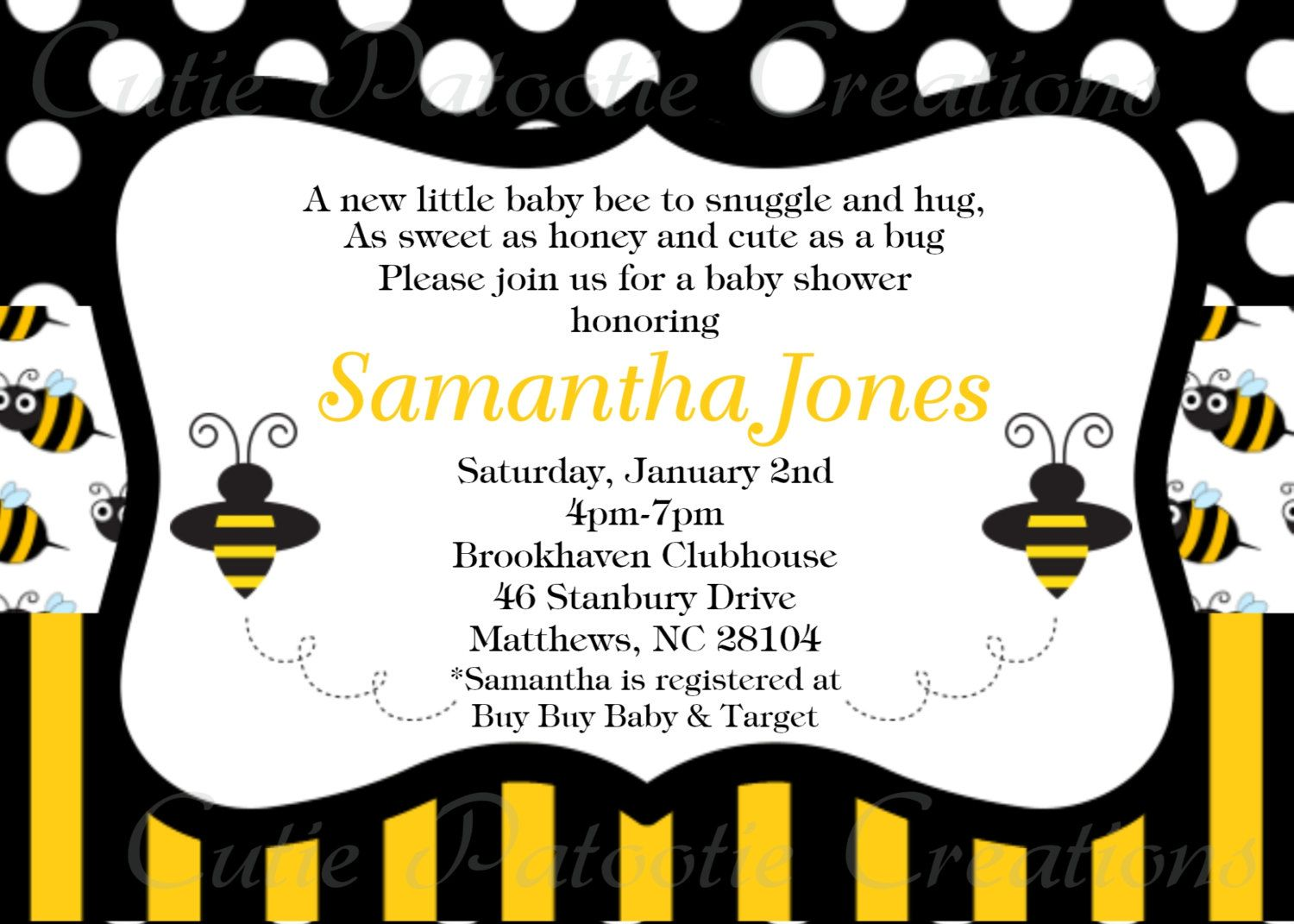 Bumble Bee Baby Shower Invitation Bumble by CutiesTieDyeBoutique ...
