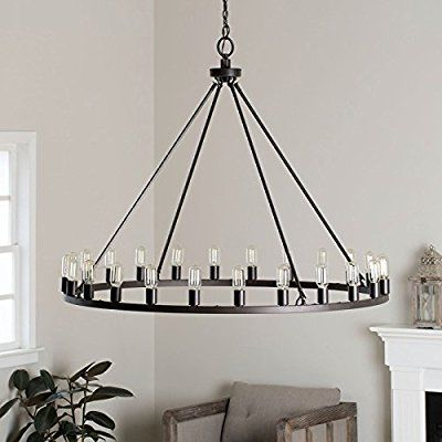 Rustic chandelier centerpiece with bulbs for modern farmhouse lighting 48 oversized large round pendant