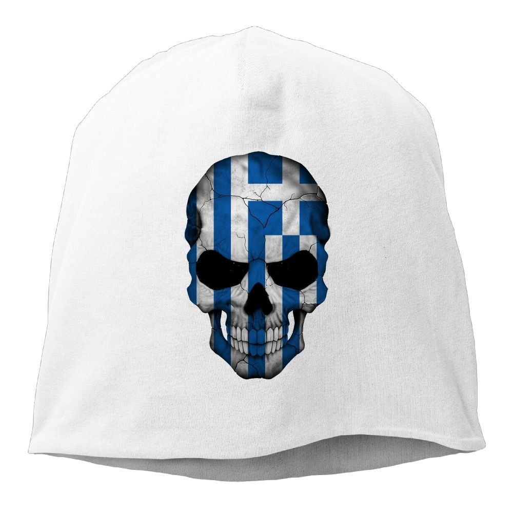 e5bf5cab348 Greece Flag Skull Unisex Warm Winter Hat Knit Skull Beanie Slouchy Beanie  Hat Cap White