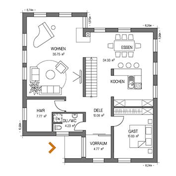 PULTDACH VISION 194 Grundriss Plan
