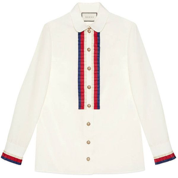 Gucci Cotton Poplin Shirt (€1.190) ❤ liked on Polyvore featuring tops, gucci top, button top, white pleated shirt, cuff shirts and white round collar shirt