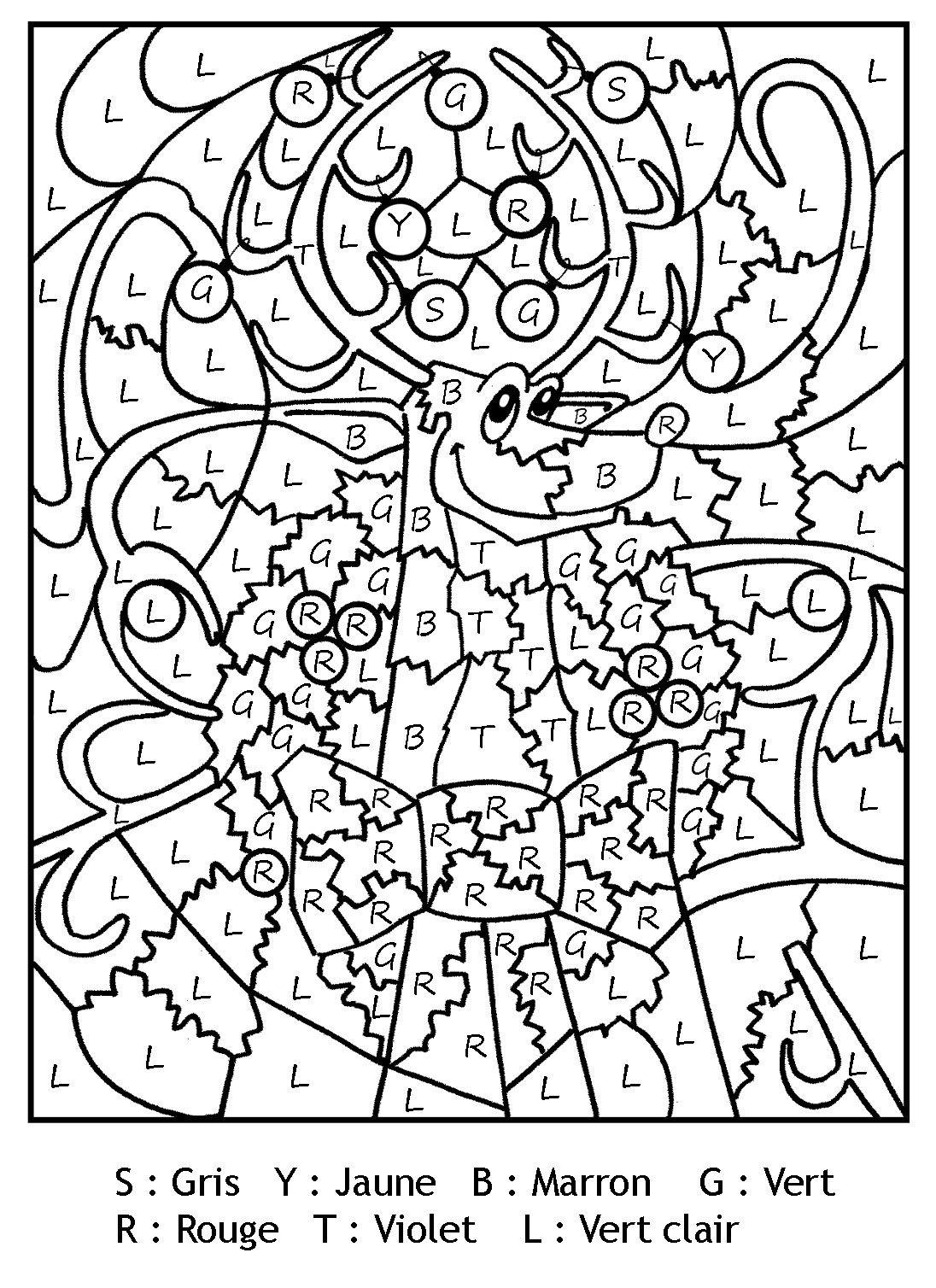 Pour imprimer ce coloriage gratuit coloriage magique lettres renne noel