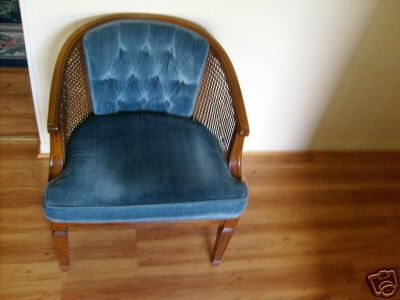Velvet Vintage Chair Blue Rattan
