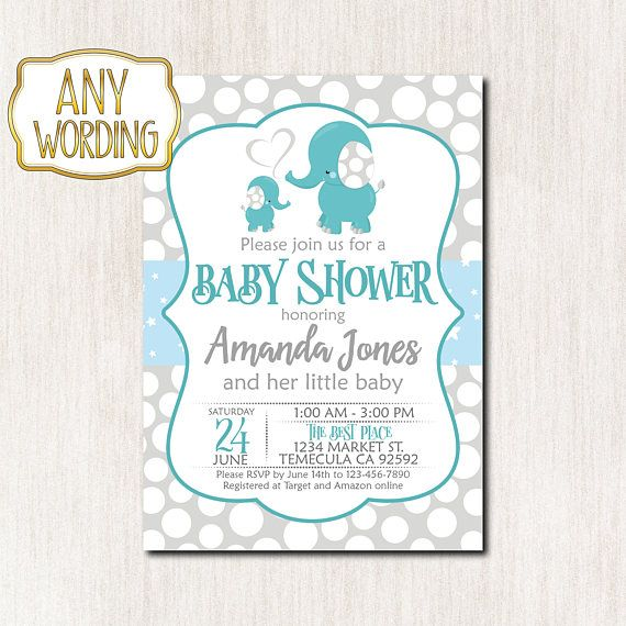 Elephant Baby Shower Invitation ItS A Boy Baby Sprinkle  Baby