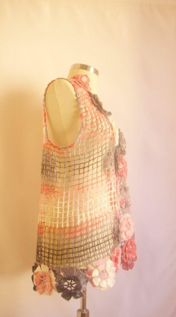 Pink grey Blakc floral flower vest bolero by modelknitting on Etsy, $53.00