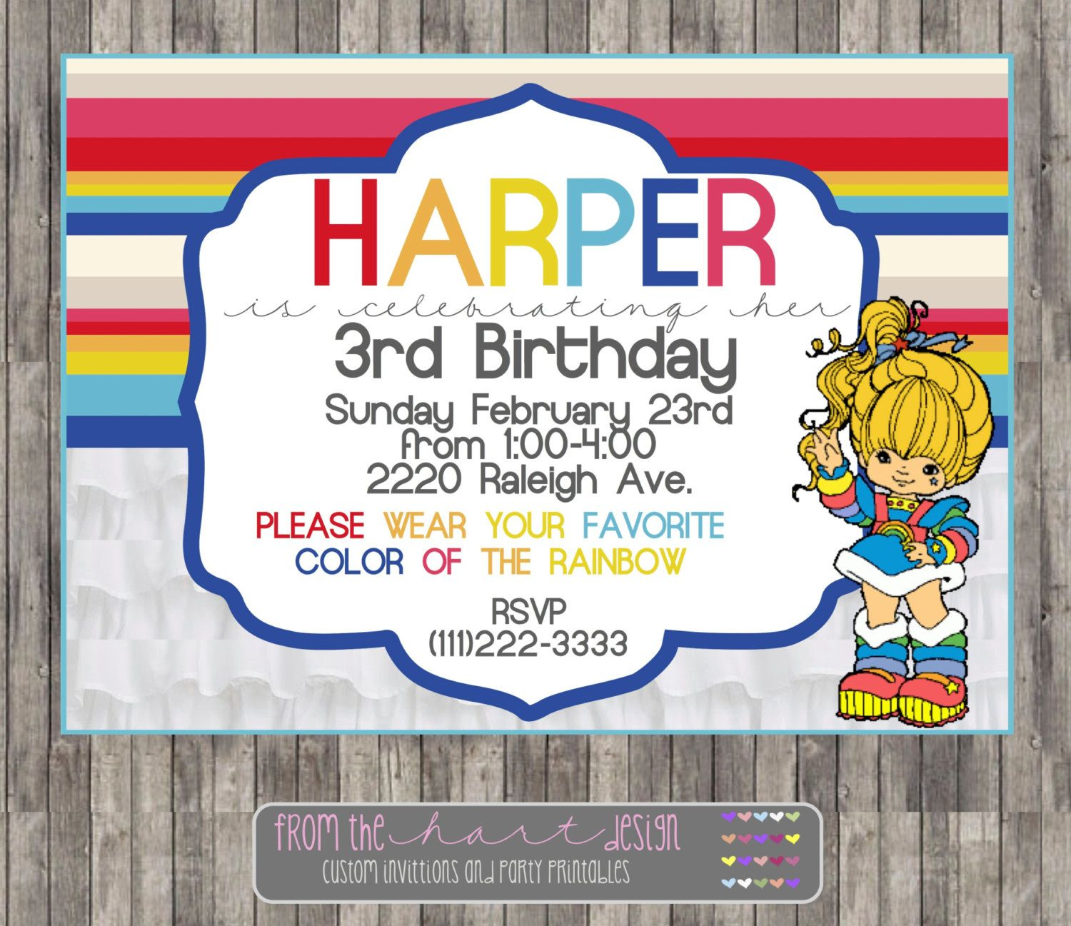Rainbow Brite Birthday Party Invitation Printable Digital File By FromTheHartDesign On Etsy