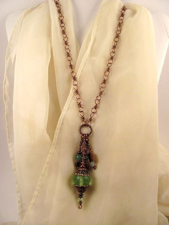 ~Sold~ Handcrafted Copper Green Gypsy Boho Pendant Necklace by GypsyWhims, $24.00
