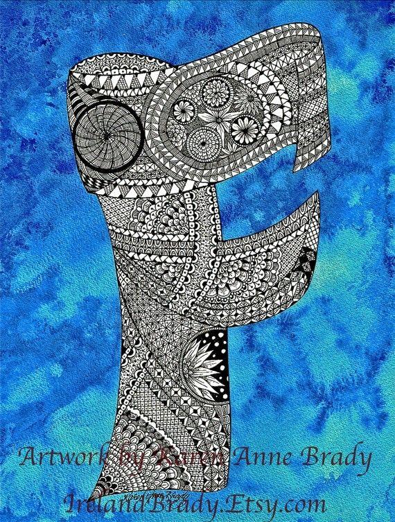 ACEO+Alphabet+Letter+F+zentangle+doodle+initial+by+IrelandBrady,+$1.00