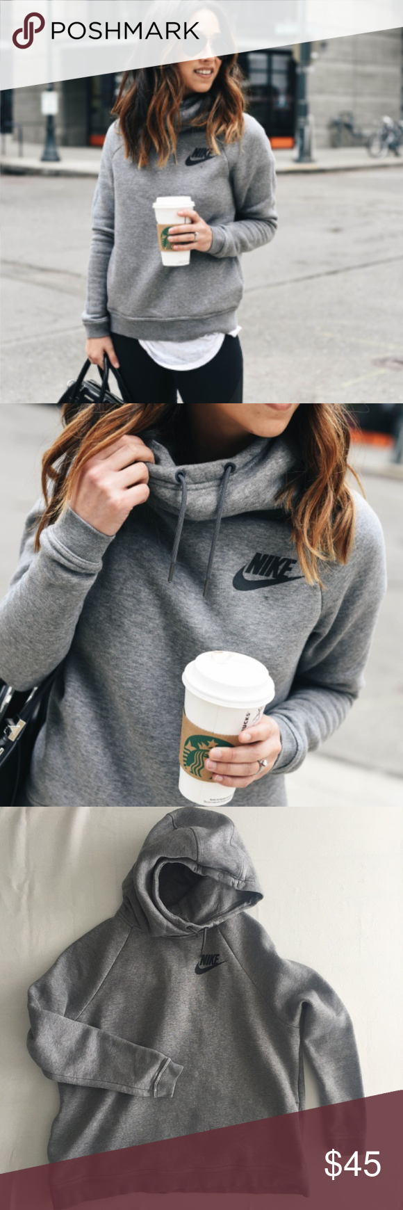 05ebe9668d9b Nike Rally Funnel Neck Hoodie fits like M Saw this cute gray Nike hoodie on  a