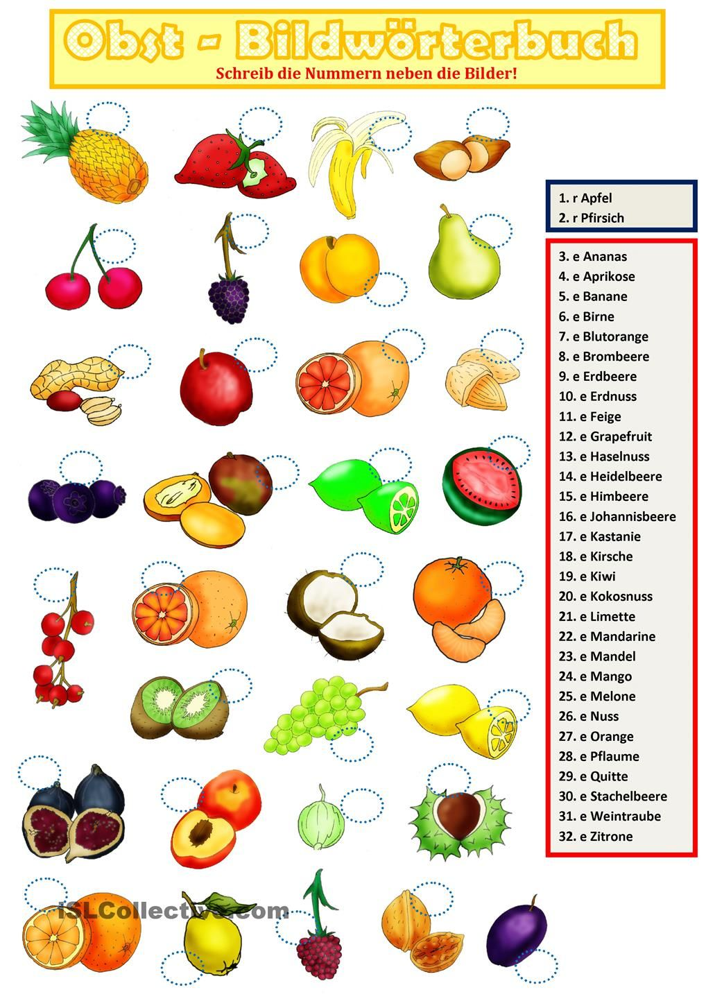 Obst 2. | Essen, Worksheets and Kindergarten