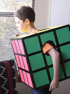 Rubix Cube  With just a box and some construction paper, a quirky kid can impress friends as this infamous puzzler from yesteryear. Bonus points if he or she can actually solve one!