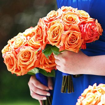 Brightly Colored Wedding Flower Ideas Orange Rose Bouquetrose