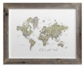 Lets get lost green world map watercolor with cities rustic frame lets get lost green world map watercolor with cities rustic frame gumiabroncs Choice Image