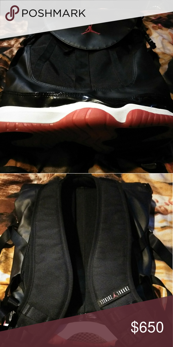 812783dcf5e370 JORDAN BRED 11 BACKPACK RED AND BLACK CANVAS LEATHER LIMITED EDITION. NEVER  USED. Jordan Bags Backpacks