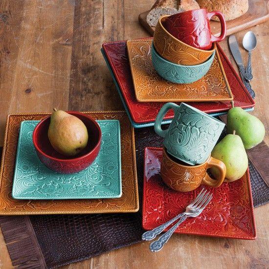 Western Kitchen Decor Sets: Western Elegance Ceramic Dish Set- Sunset Red And