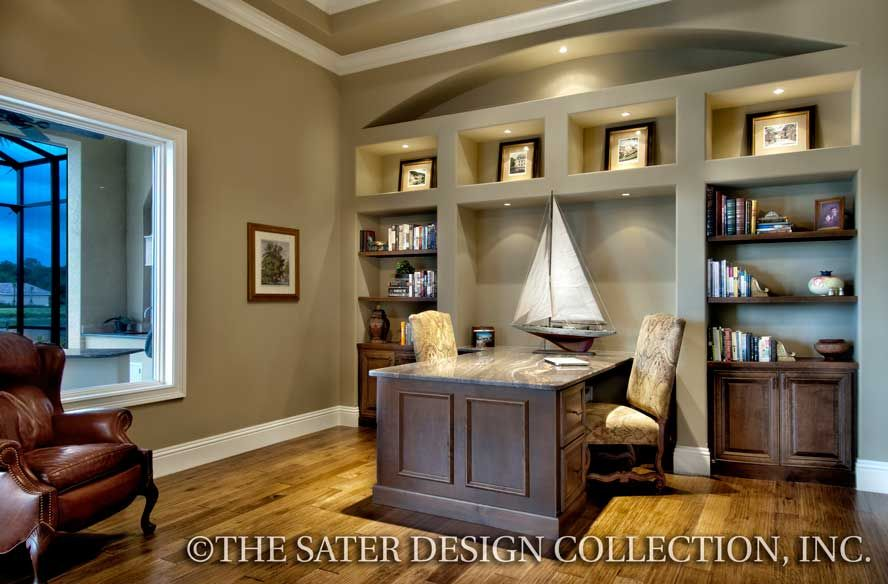 The Sater Design Collection's Luxury Mediterranean Home Plan Simple Upscale Home Office Furniture Ideas Plans