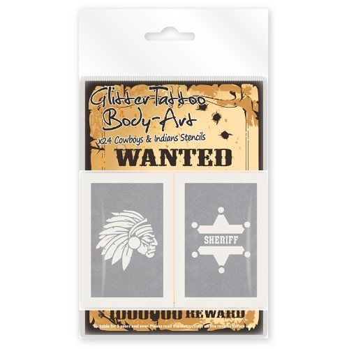 Pack Of 24 Cowboys & Indians Glitter Tattoo Stencils - 12 Unique Designs In Each Pack by The Glitter Tree, http://www.amazon.co.uk/dp/B008EKKNG4/ref=cm_sw_r_pi_dp_wDZ.sb01M6KBQ
