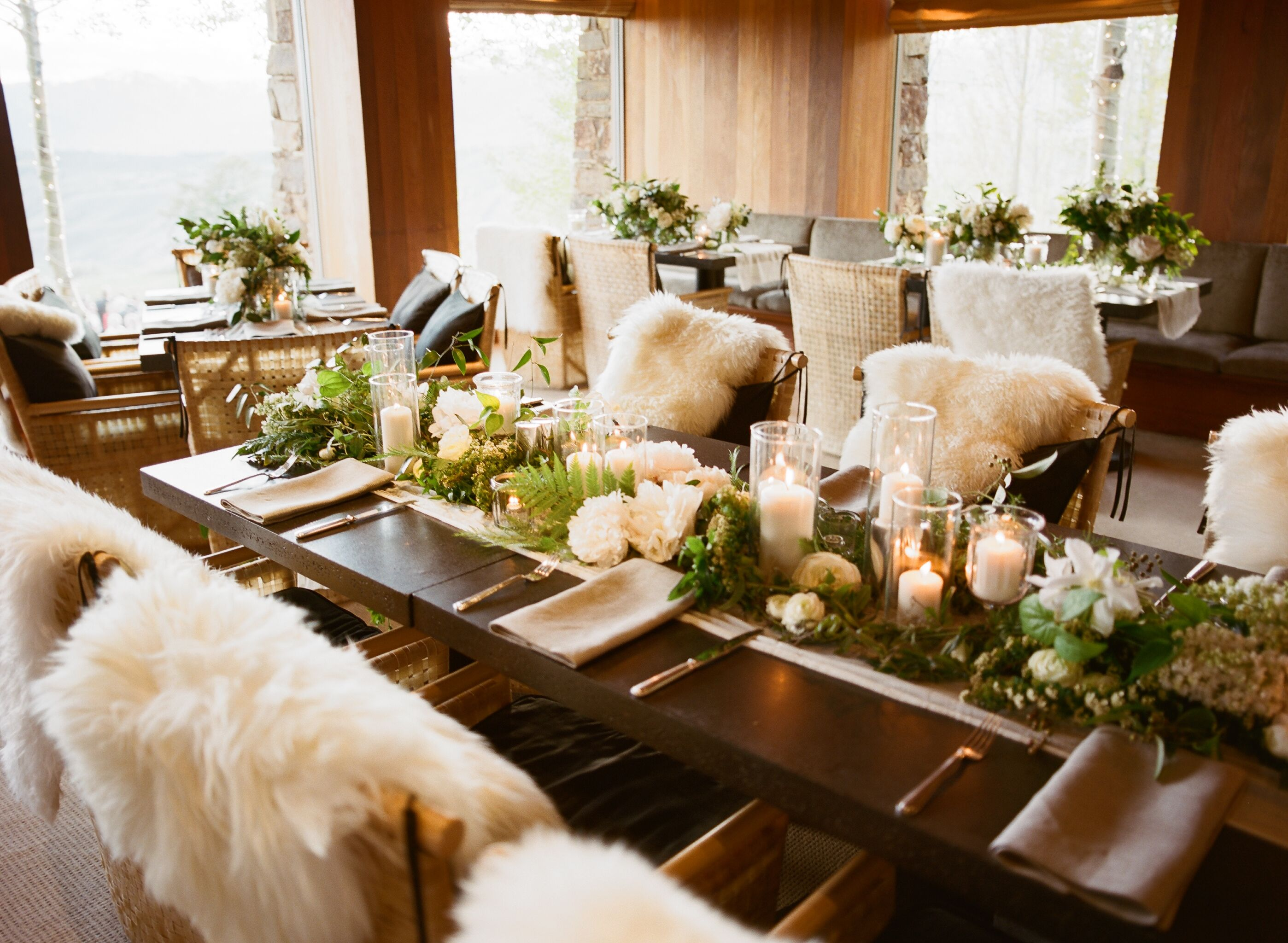 Rustic Faux Sheepskin Reception Decor Winter Dining Table Decor Christmas Dining Table Dining Table Centerpiece