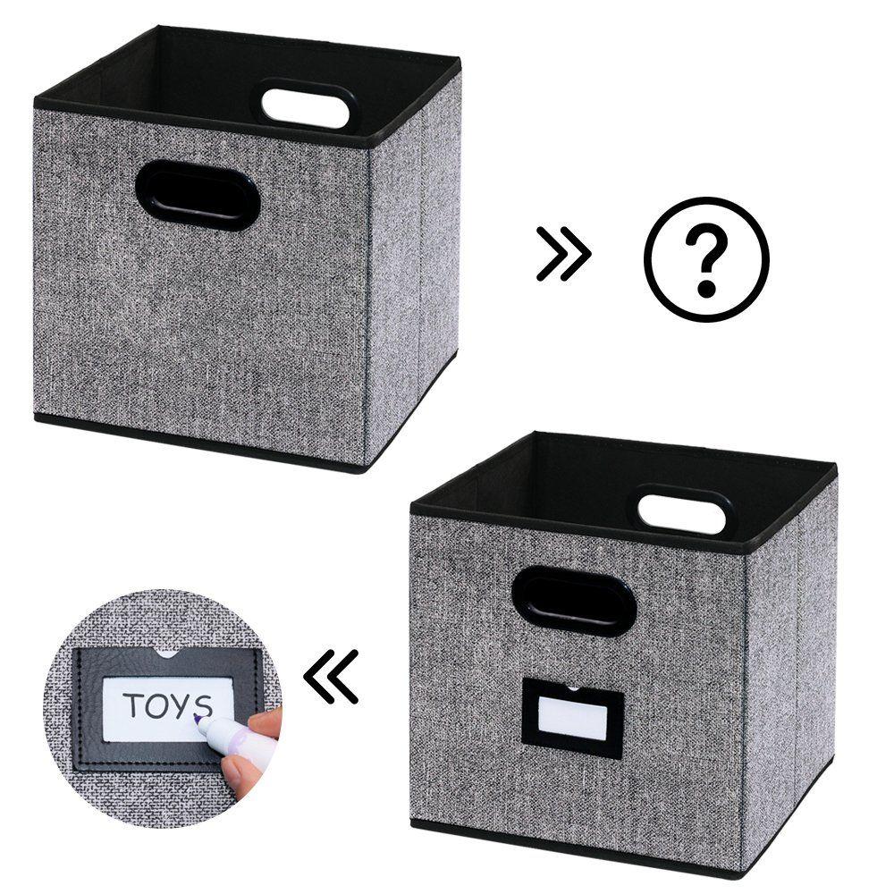 Homyfort 6 Stuck Faltbare Aufbewahrungsbox Stoffbox Faltbox Mit Kunststoffgriff Und Etikettenhalter 30 X 30 X 30 Cm Schw Aufbewahrungsbox Aufbewahrung Faltbox