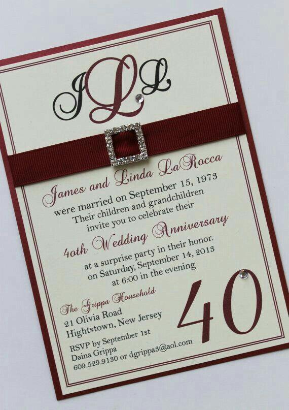 Invitacion 40 Aniversario De Boda 35 Aniversario De Boda