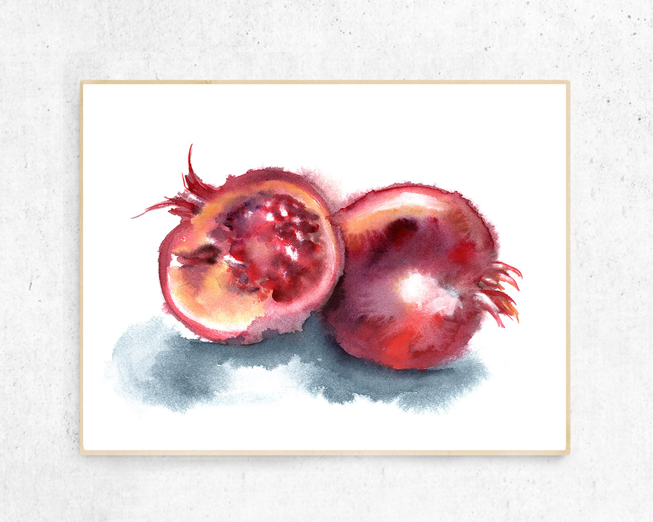 Printable Large Kitchen Wall Decor, Pomegranate Watercolor Print, Watercolor Printable