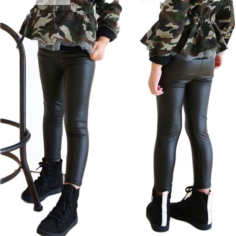 Pas cher 3 7 ano skinny noir kid cuir pantalons fille legging bébé  pantalons enfant legging cbb634b687bb