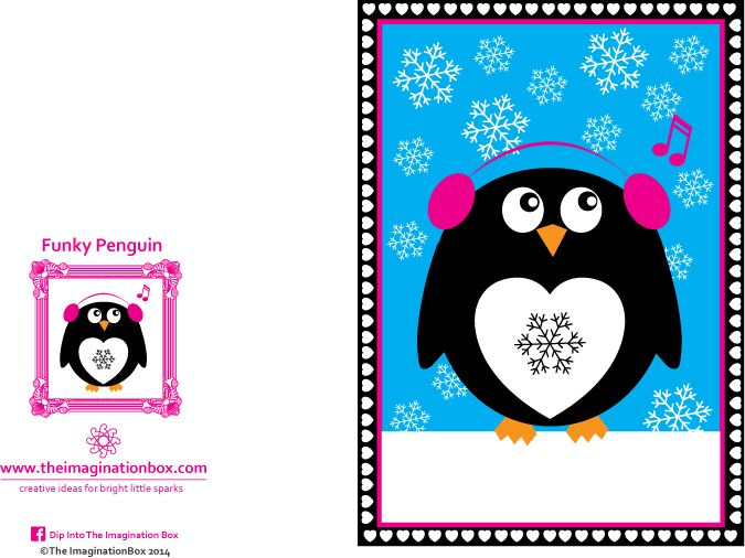 Funky Penguin\' Christmas Card for children, free to download ...
