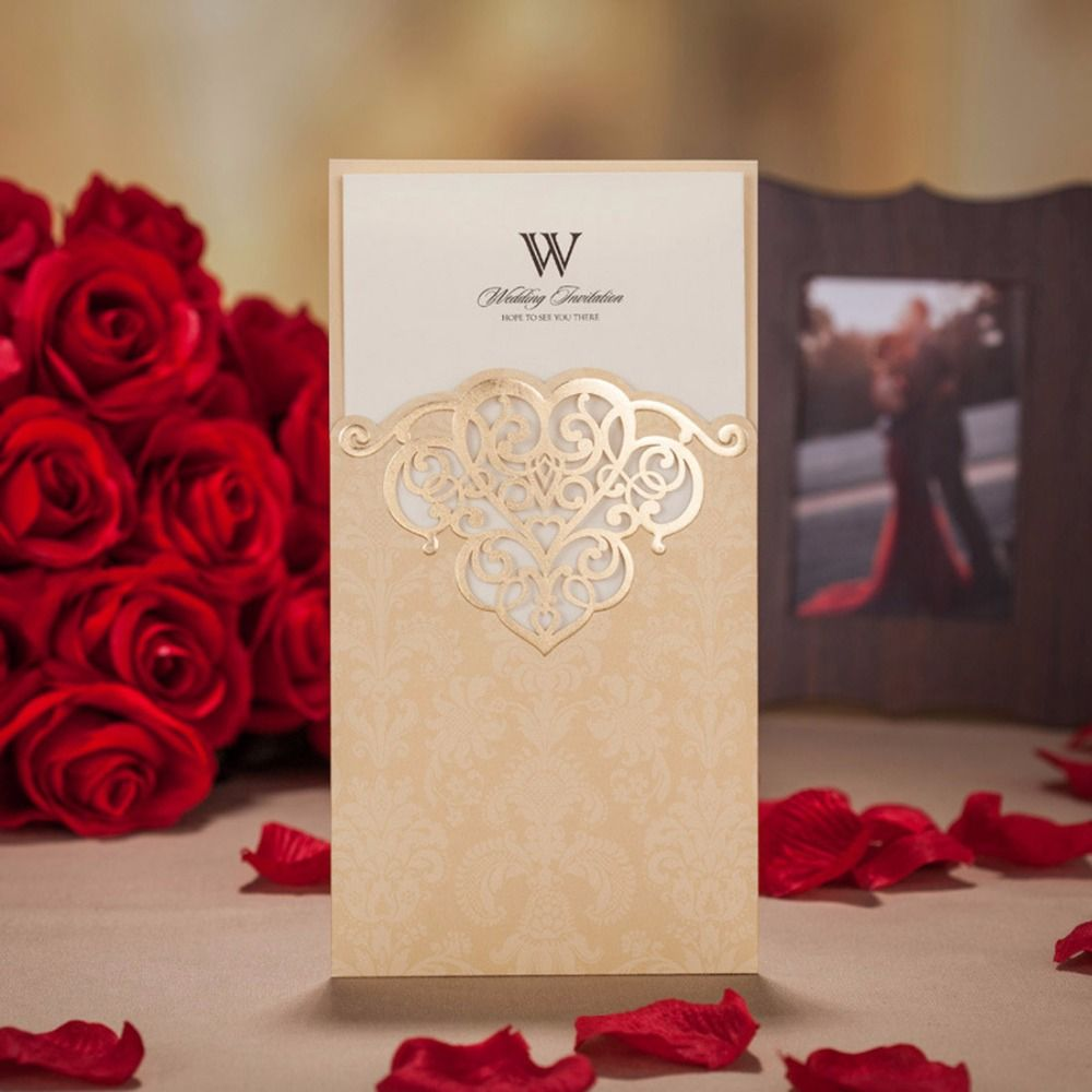 Laser Cut Wedding Invitations Cards Romantic Red Gold Paper ...