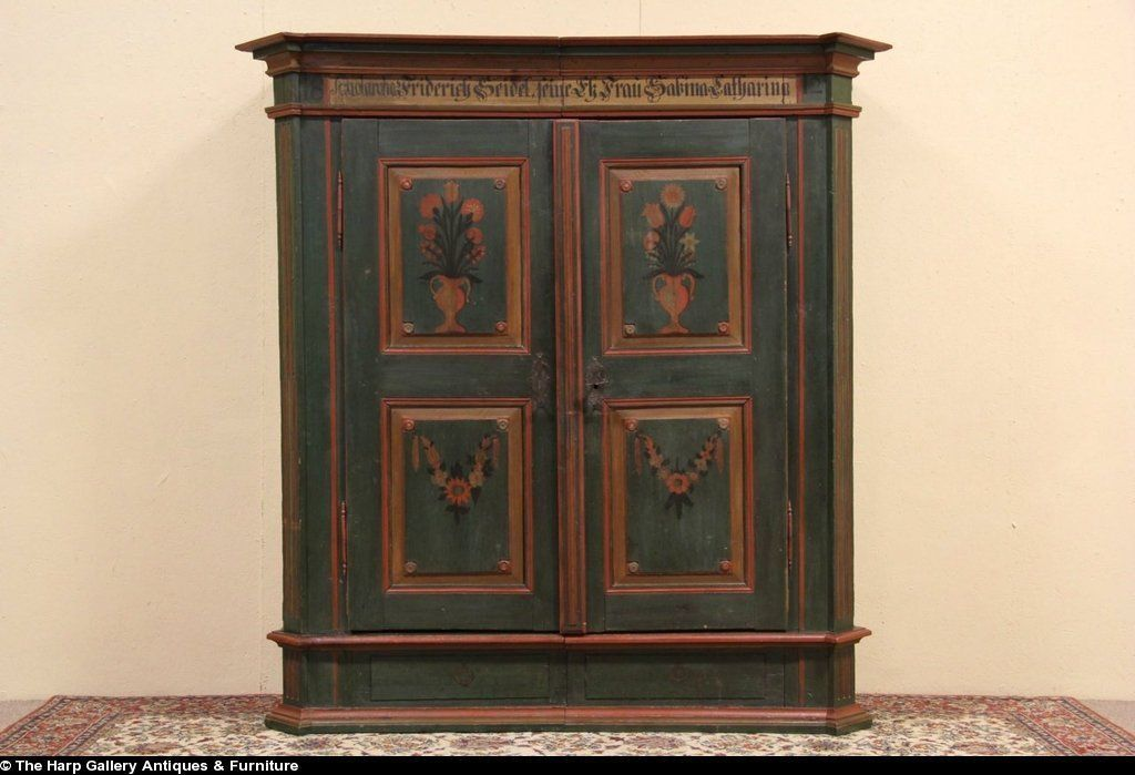 German Antique Wedding Schrank Or Armoire 1812 Folk Painting Antique Wedding Antiques Folk