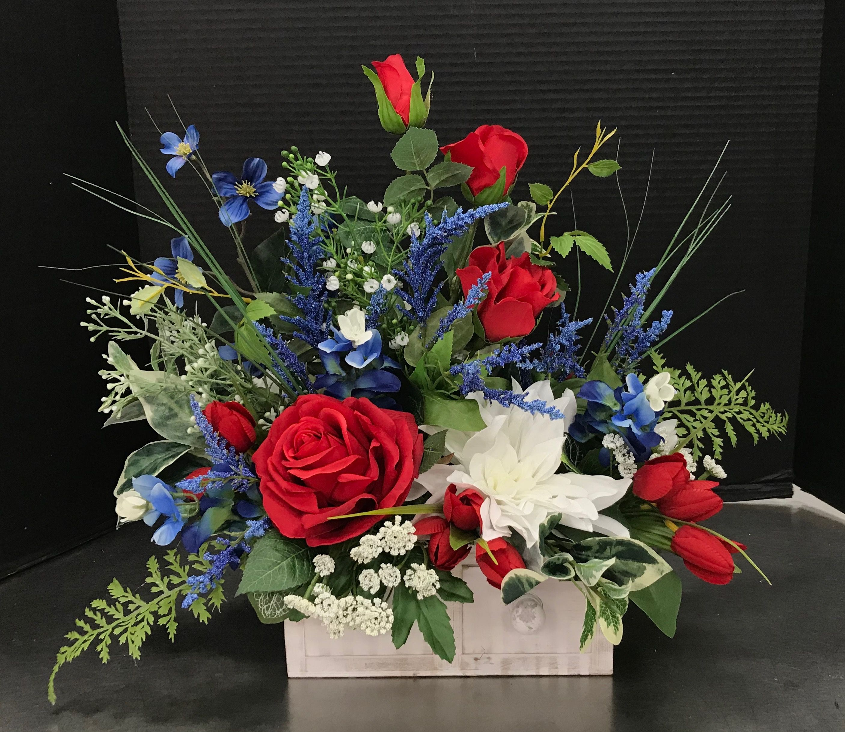 Red White And Blue Drawer By Andrea Flower Arrangements
