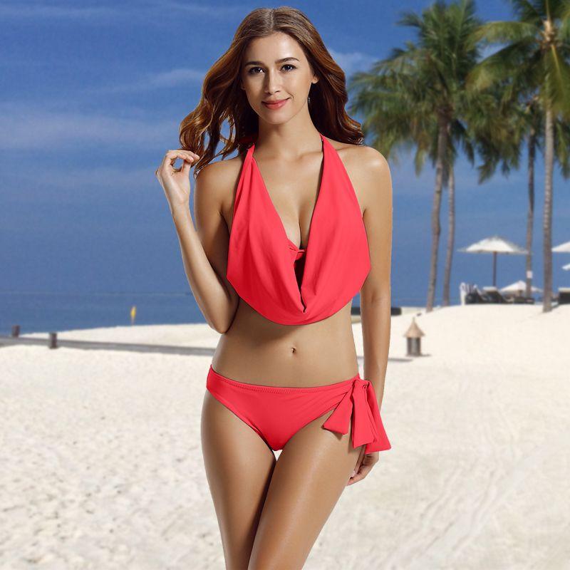 9adb0a69345b6 Women's Hipster Halter Cowl Neck Bikini Bathing Suits | Hot Beach ...