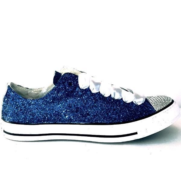 15 OFF with code  PINNED15 Womens Sparkly Royal Blue Glitter Crystals  Converse All Star wedding bride prom shoes - Gli…  f06bf7e96017