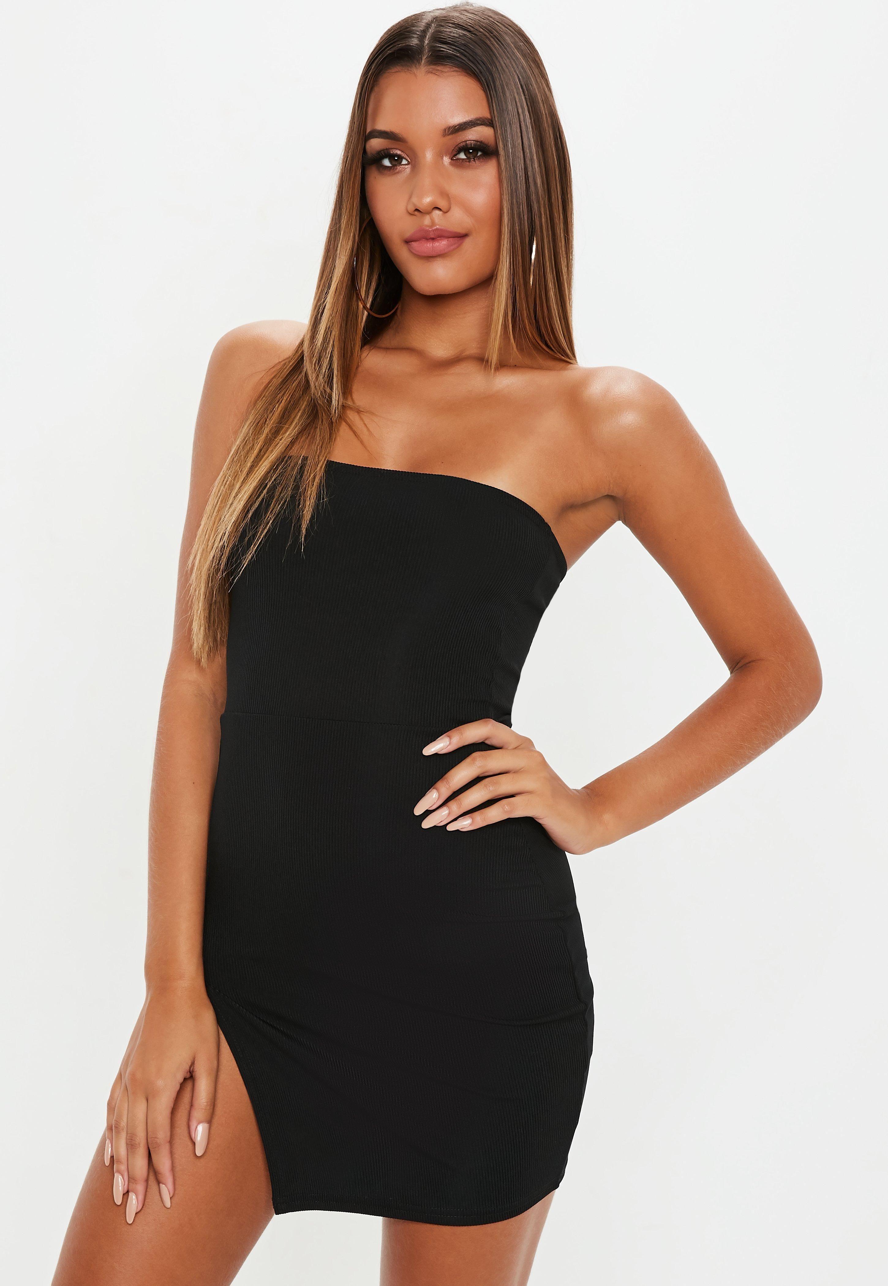 Black Bandeau Ribbed Thigh Split Mini Dress Sponsored Ribbed Ad Bandeau Black Black Strapless Bodycon Dress Mini Dress Black Bandeau [ 4200 x 2900 Pixel ]
