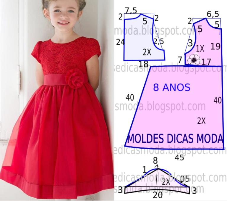 Vestido Vermelho Rodado Moldes Dicas Moda Gaun Anak Perempuan Balita Perempuan Pola Baju Bayi